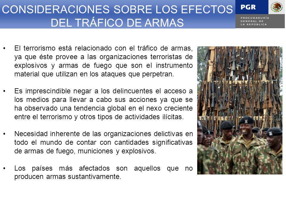 CONSIDERACIONES SOBRE LOS EFECTOS DEL TRÁFICO DE ARMAS