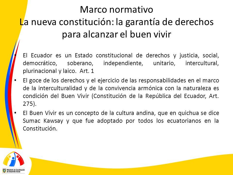 Marco normativo La nueva constitución: la garantía de derechos para alcanzar el buen vivir
