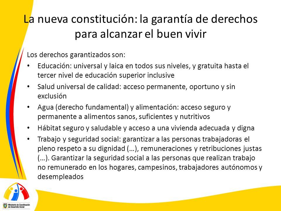 La nueva constitución: la garantía de derechos para alcanzar el buen vivir