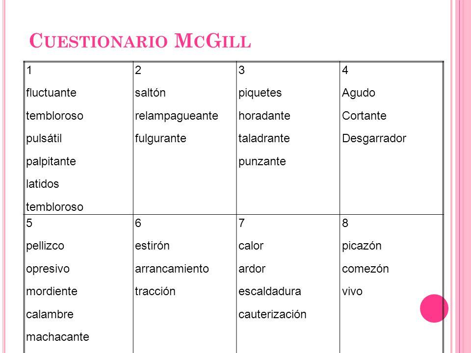 Cuestionario McGill 1 fluctuante tembloroso pulsátil palpitante