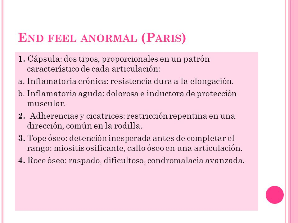 End feel anormal (Paris)
