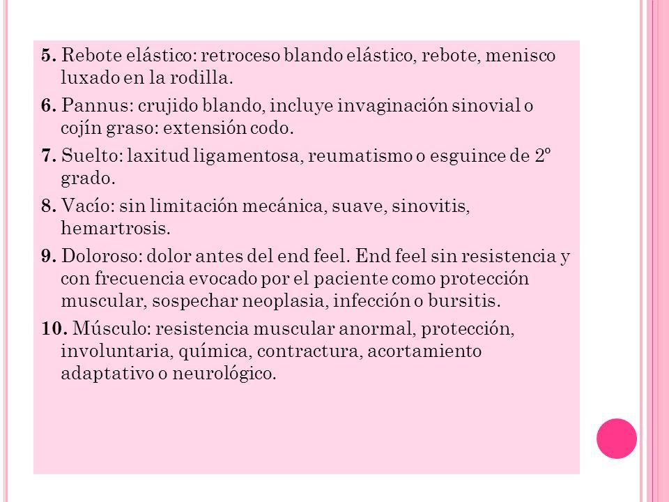 5. Rebote elástico: retroceso blando elástico, rebote, menisco luxado en la rodilla.