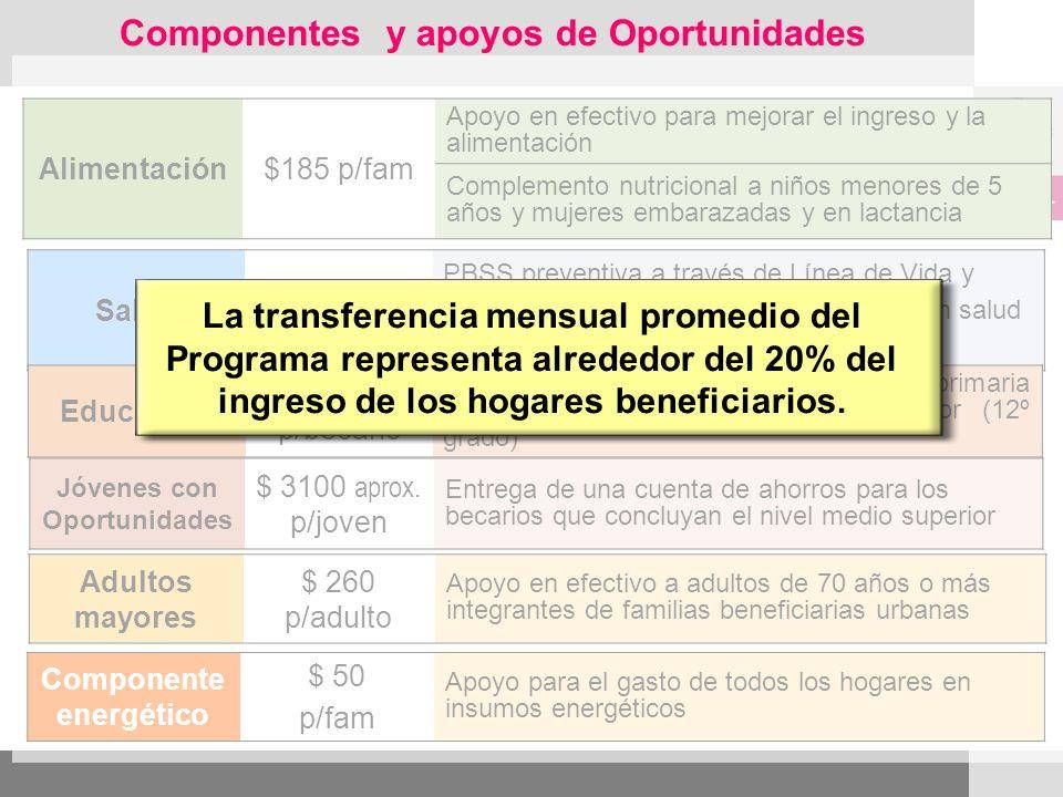 Componentes y apoyos de Oportunidades