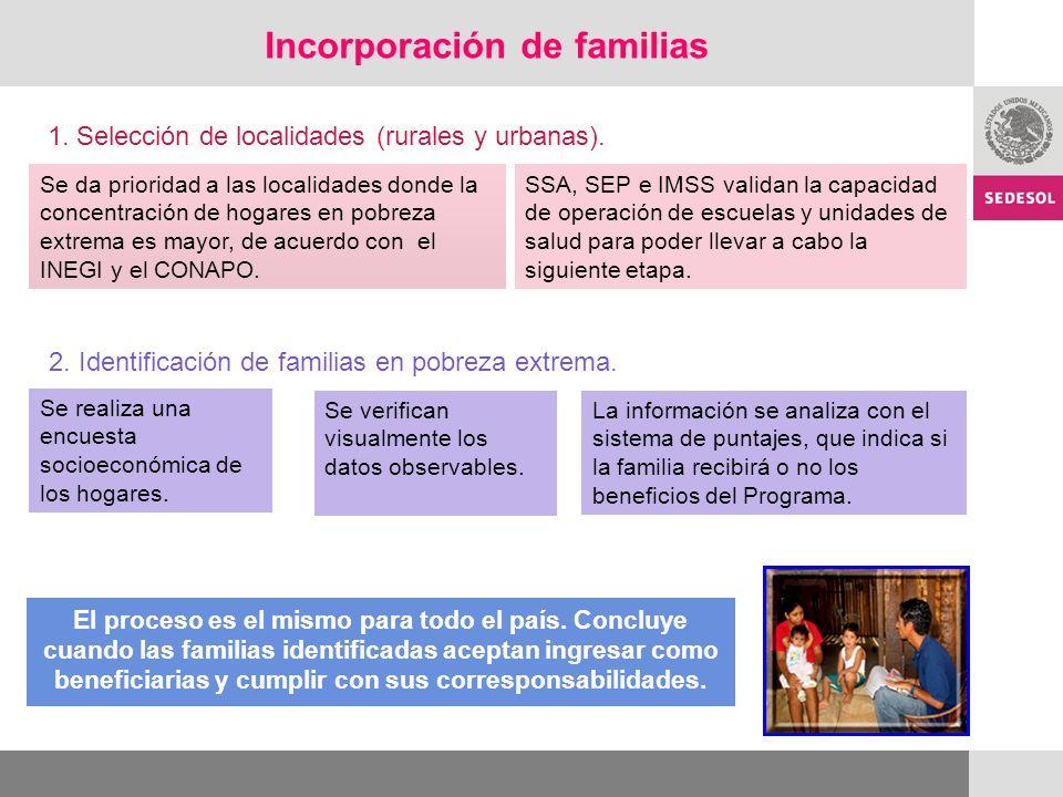 Incorporación de familias
