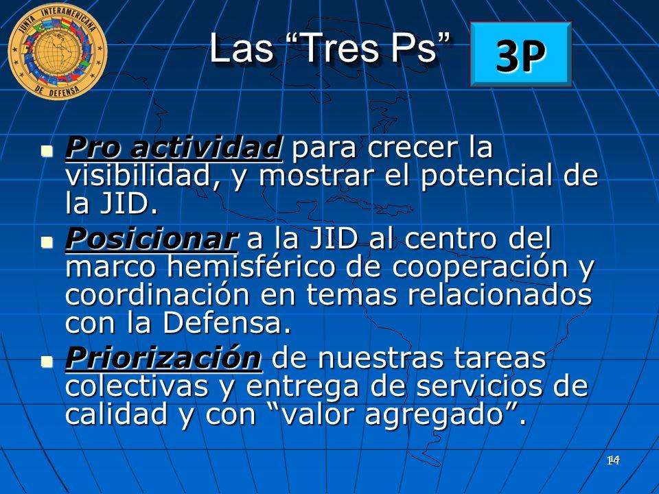 Las Tres Ps 3P. Pro actividad para crecer la visibilidad, y mostrar el potencial de la JID.