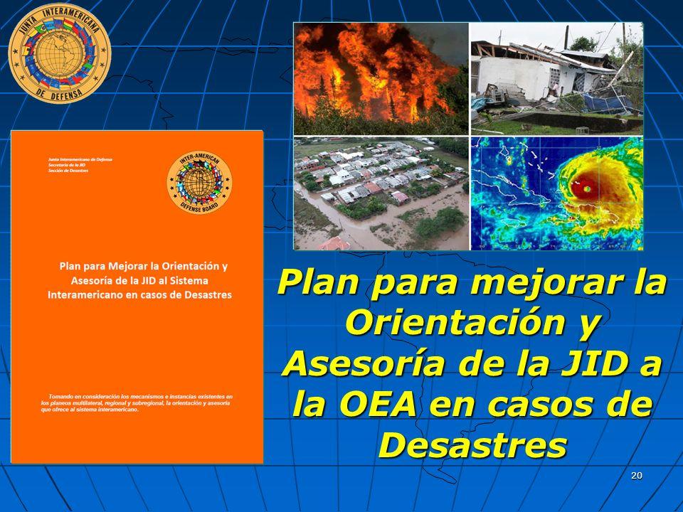 Plan para mejorar la Orientación y Asesoría de la JID a la OEA en casos de Desastres