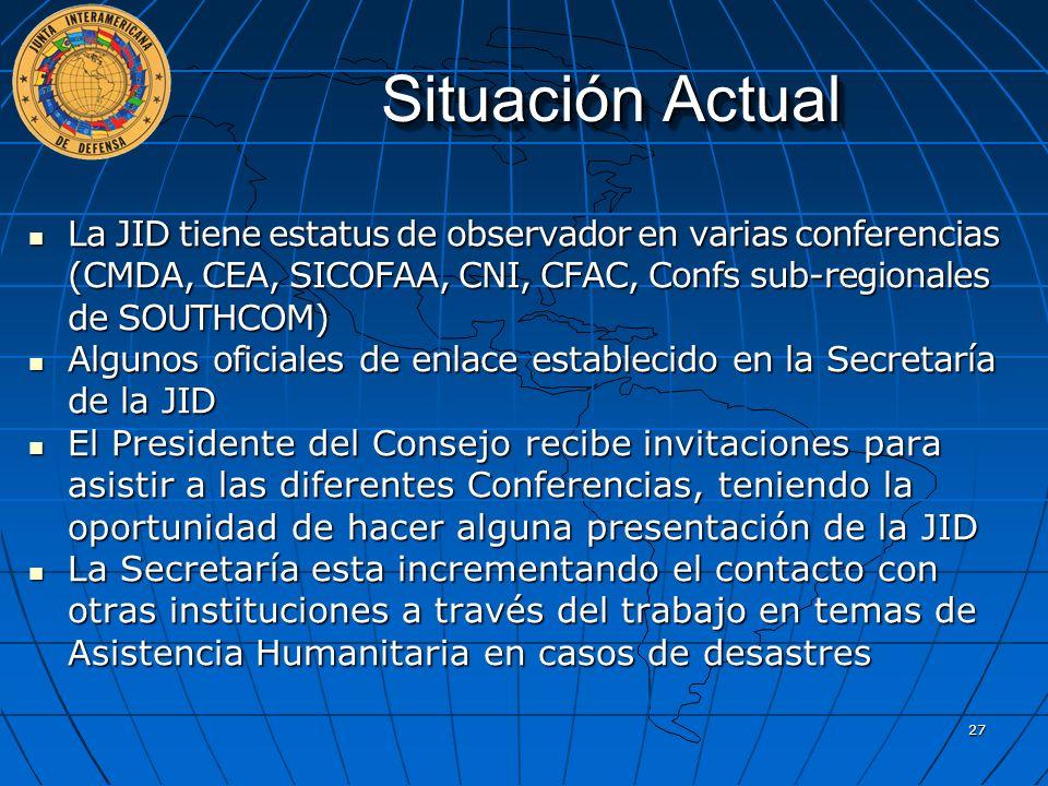 Situación Actual La JID tiene estatus de observador en varias conferencias (CMDA, CEA, SICOFAA, CNI, CFAC, Confs sub-regionales de SOUTHCOM)