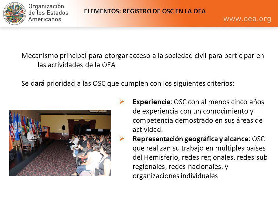 ELEMENTOS: REGISTRO DE OSC EN LA OEA
