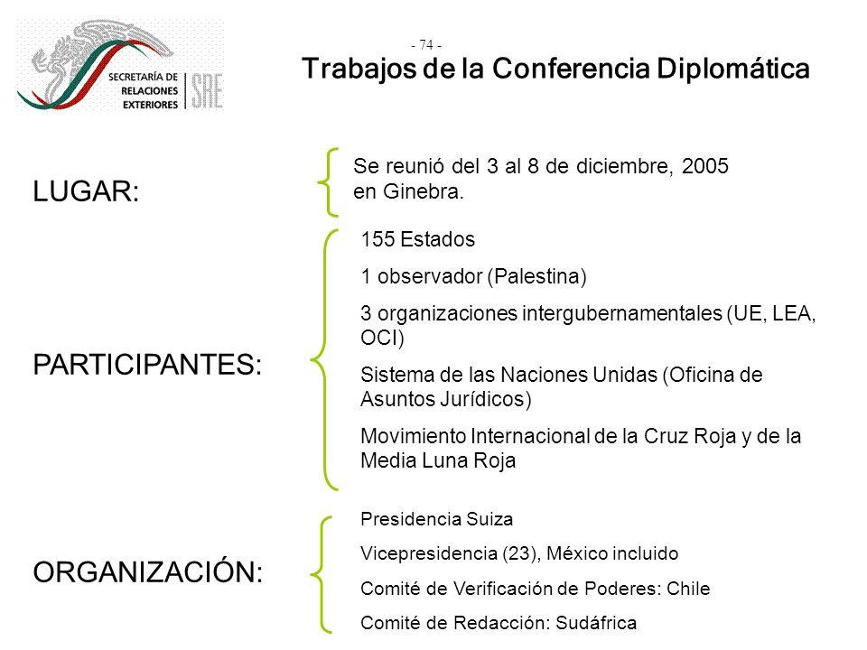 Trabajos de la Conferencia Diplomática