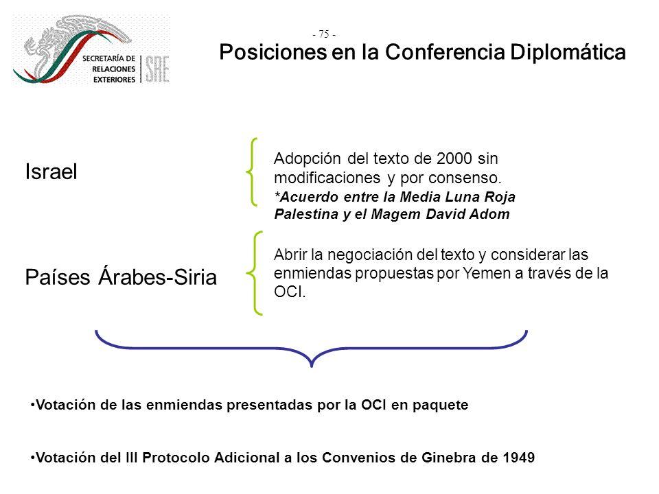 Posiciones en la Conferencia Diplomática