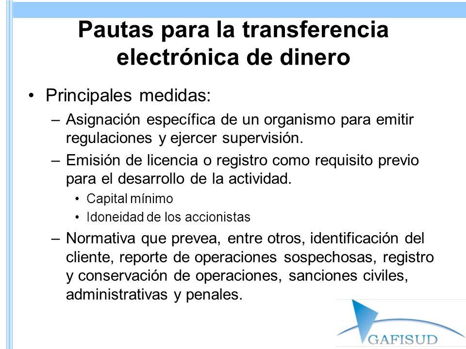 Pautas para la transferencia electrónica de dinero