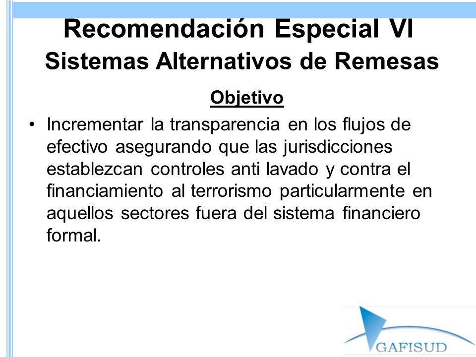 Recomendación Especial VI Sistemas Alternativos de Remesas