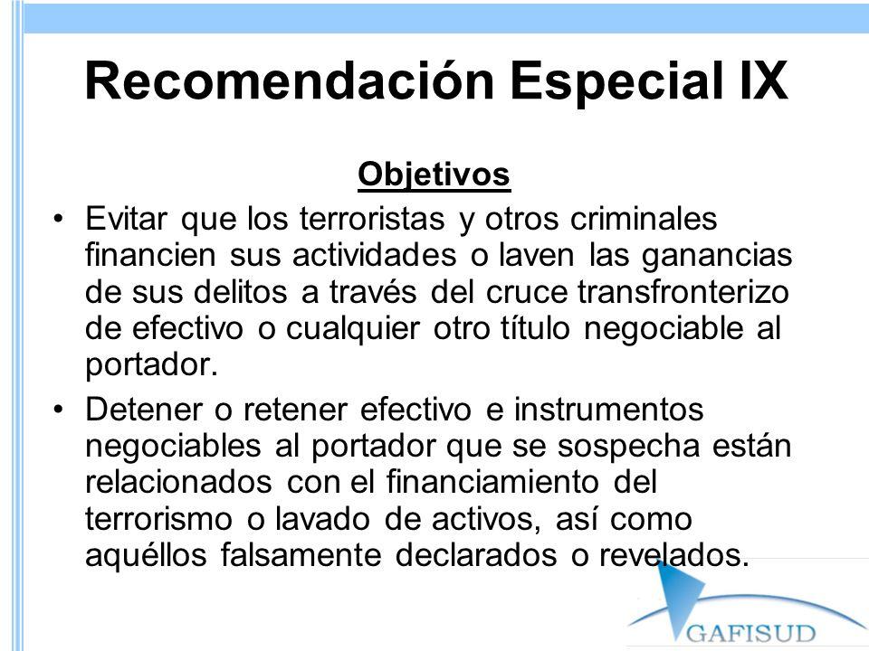 Recomendación Especial IX