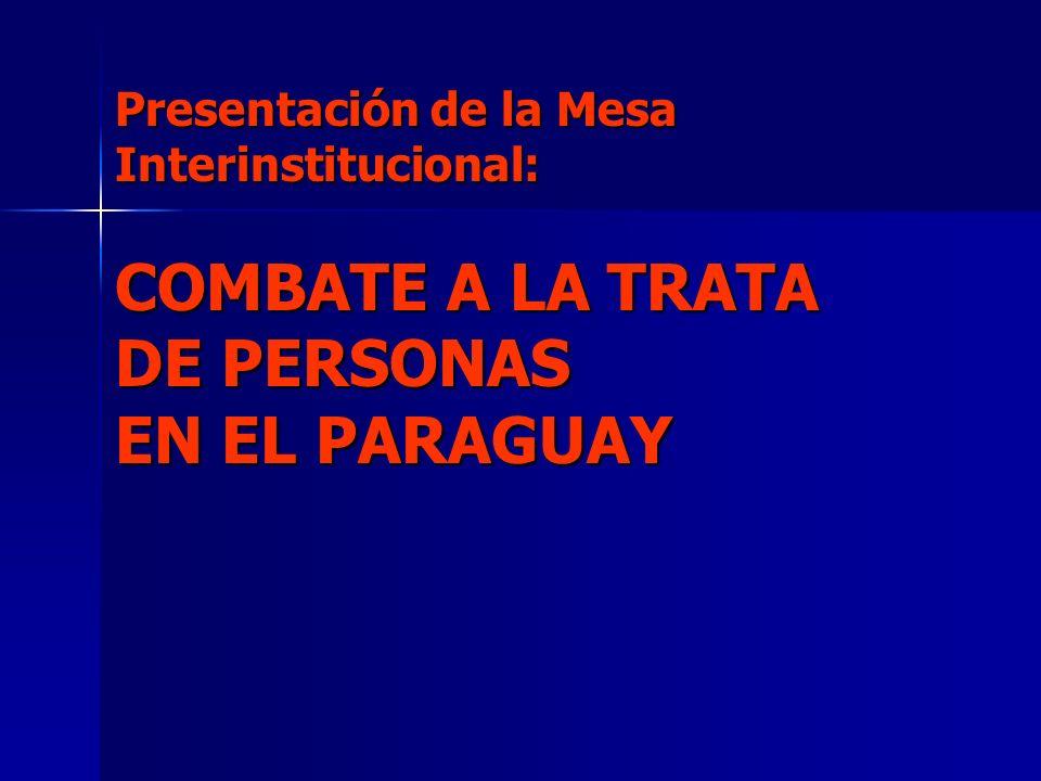 Presentación de la Mesa Interinstitucional: COMBATE A LA TRATA DE PERSONAS EN EL PARAGUAY