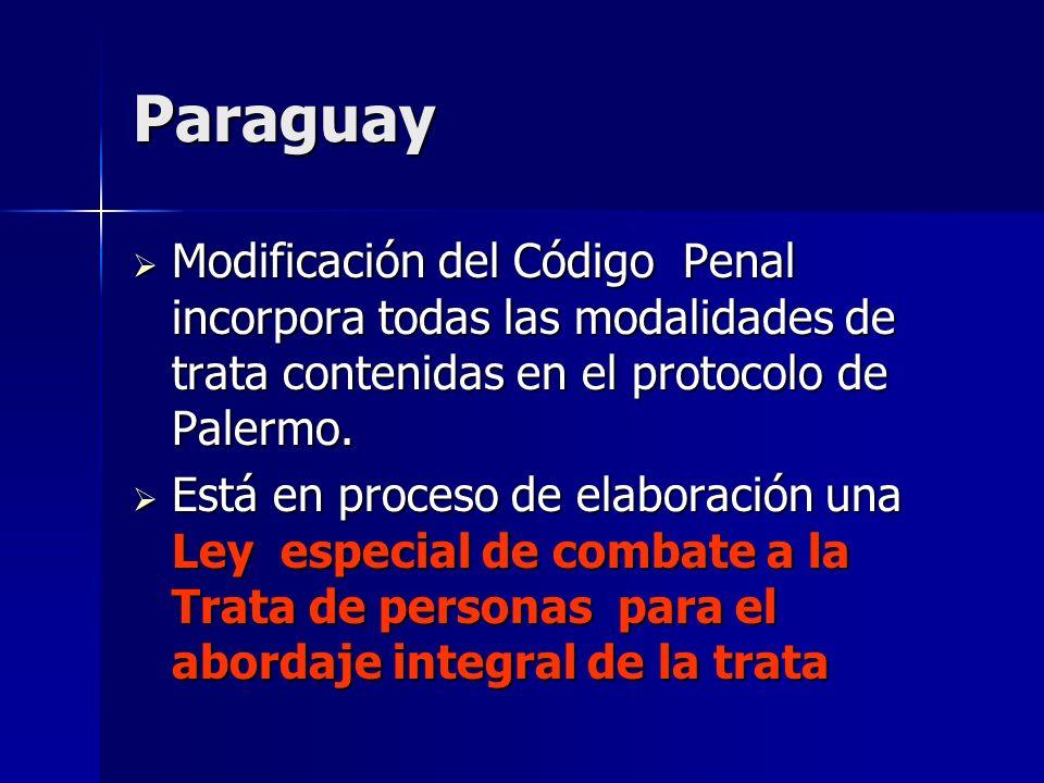 ParaguayModificación del Código Penal incorpora todas las modalidades de trata contenidas en el protocolo de Palermo.