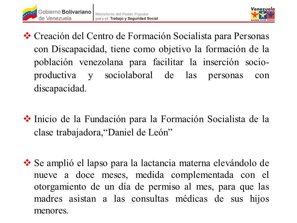 Creación del Centro de Formación Socialista para Personas con Discapacidad, tiene como objetivo la formación de la población venezolana para facilitar la inserción socio- productiva y sociolaboral de las personas con discapacidad.