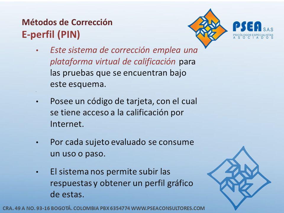 E-perfil (PIN) Métodos de Corrección