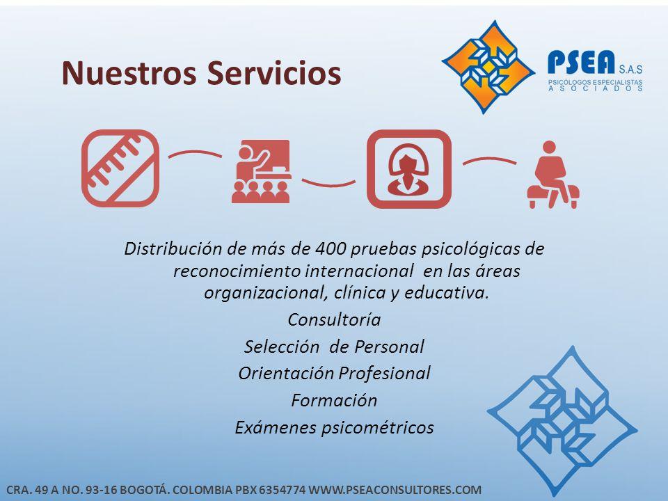 Nuestros Servicios Distribución de más de 400 pruebas psicológicas de reconocimiento internacional en las áreas organizacional, clínica y educativa.