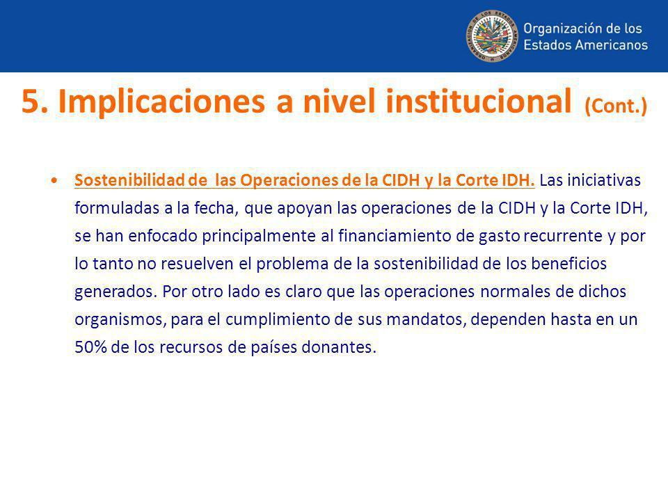 5. Implicaciones a nivel institucional (Cont.)