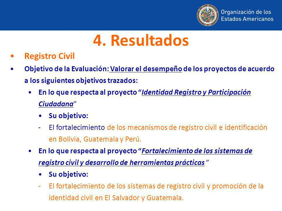 4. Resultados Registro Civil