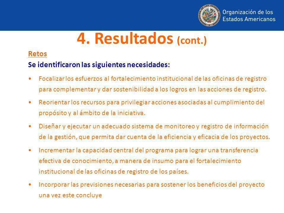 4. Resultados (cont.) Retos
