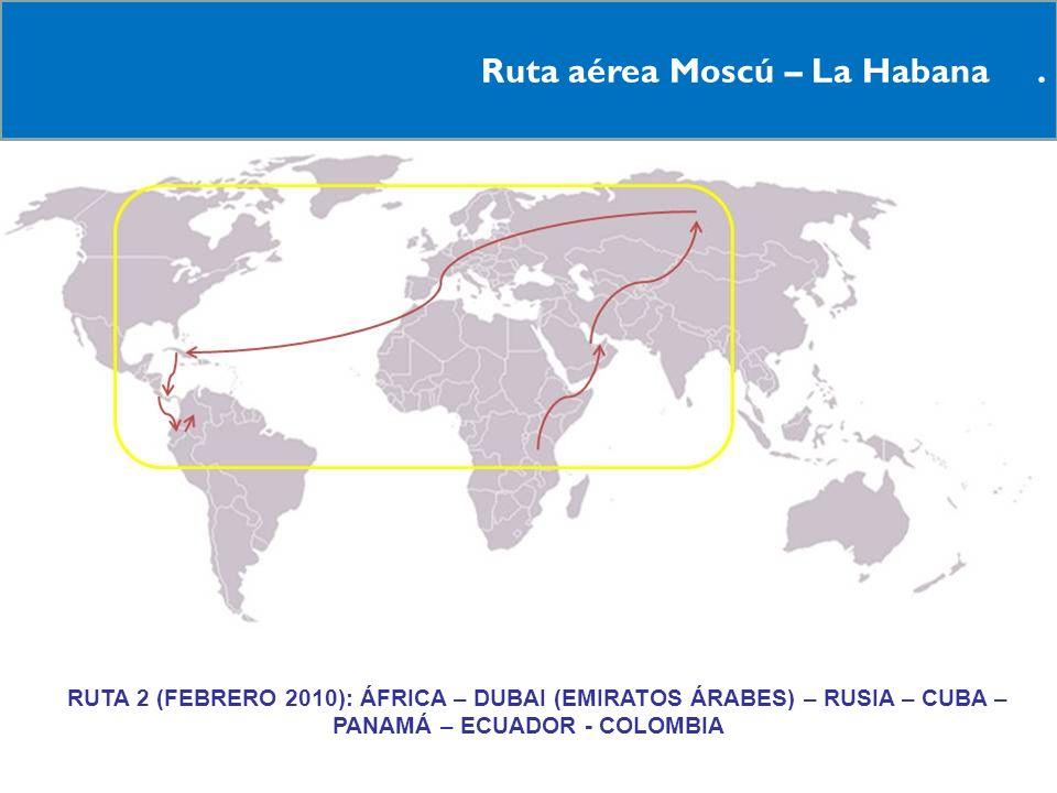 Ruta aérea Moscú – La Habana .