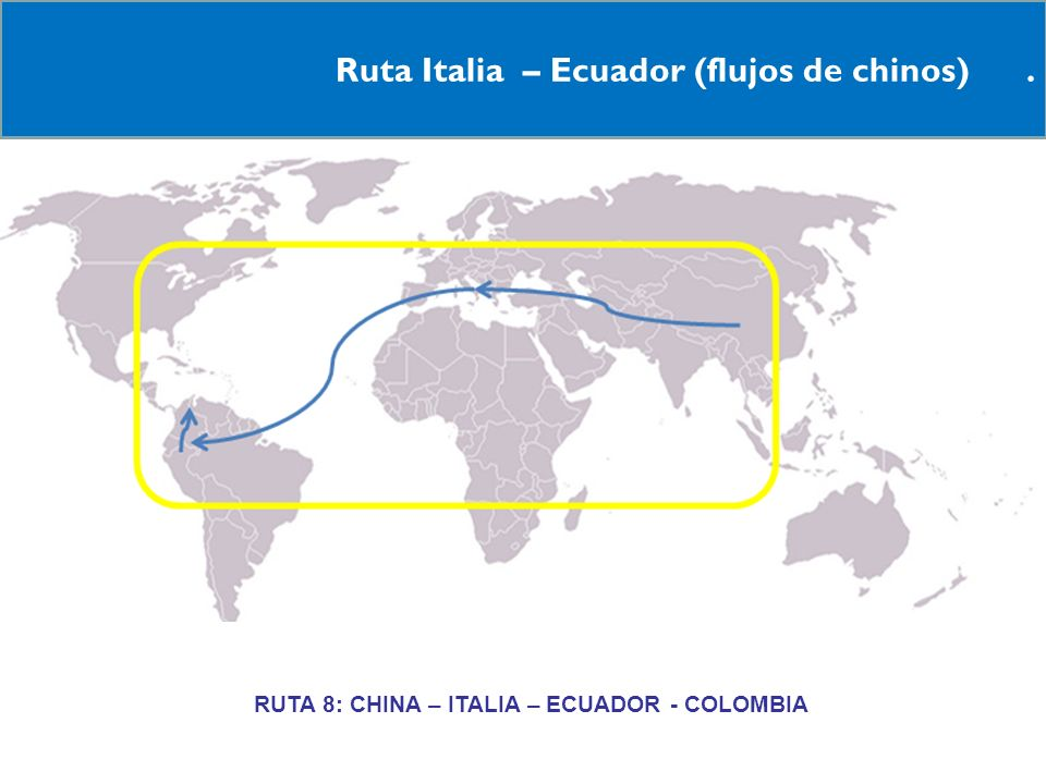 RRUTA 8: CHINA – ITALIA – ECUADOR - COLOMBIA