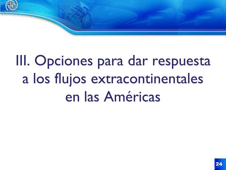 III. Opciones para dar respuesta a los flujos extracontinentales en las Américas