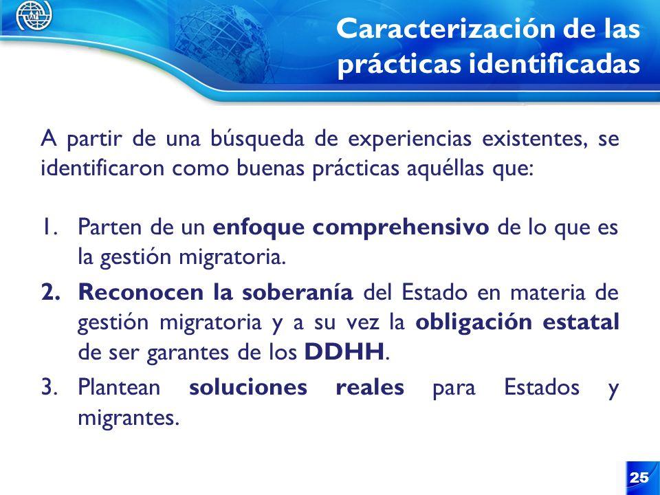 Caracterización de las prácticas identificadas