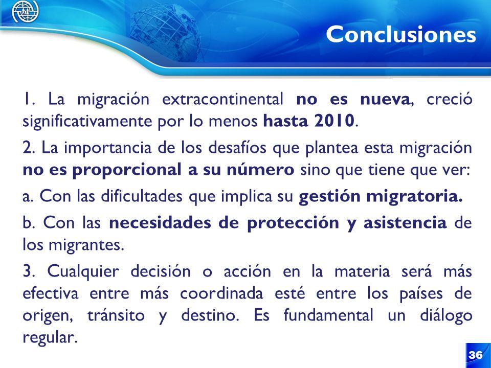 Conclusiones 1. La migración extracontinental no es nueva, creció significativamente por lo menos hasta 2010.