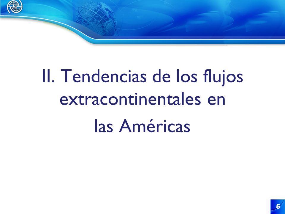 II. Tendencias de los flujos extracontinentales en las Américas
