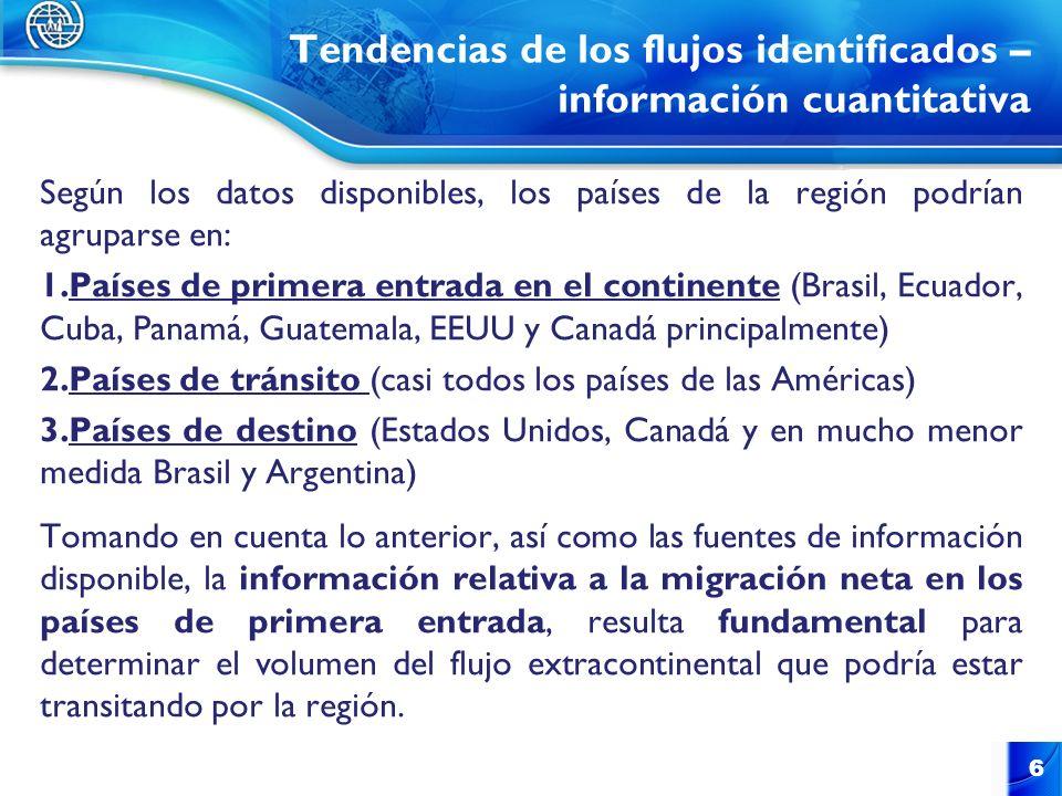 Tendencias de los flujos identificados – información cuantitativa