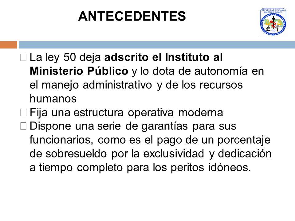 ANTECEDENTES La ley 50 deja adscrito el Instituto al Ministerio Público y lo dota de autonomía en el manejo administrativo y de los recursos humanos.