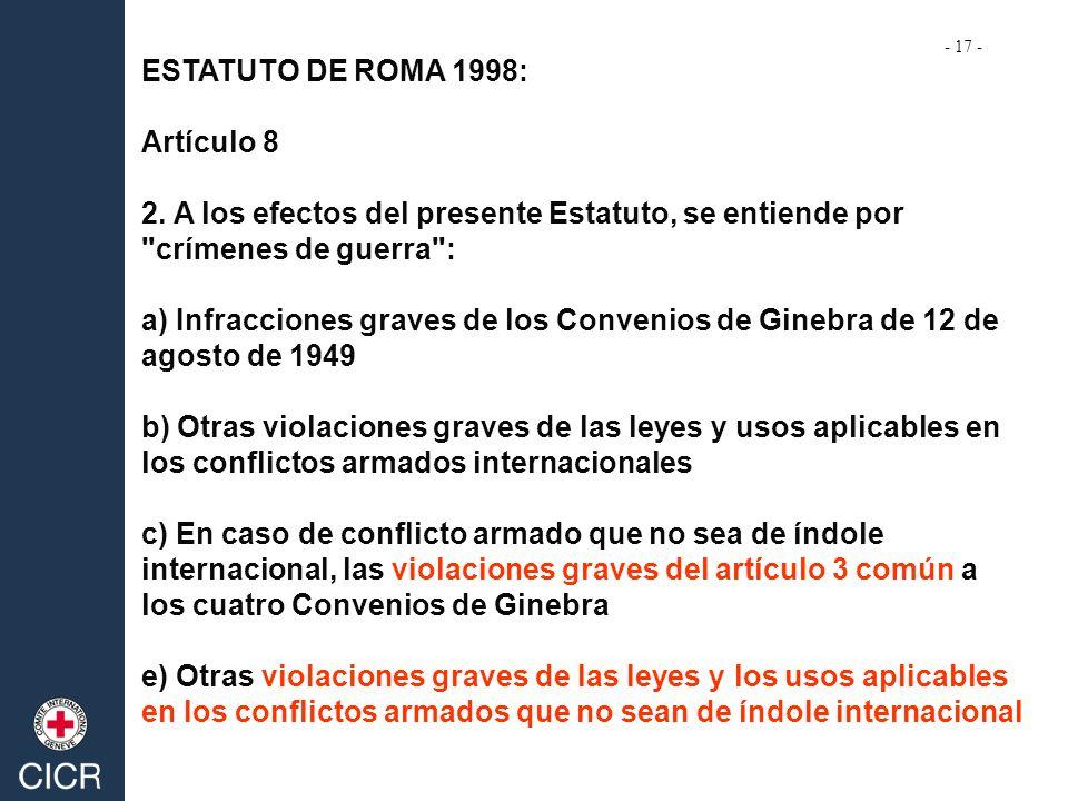ESTATUTO DE ROMA 1998: Artículo 8