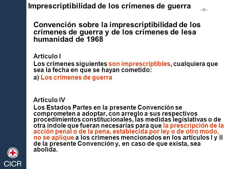 Imprescriptibilidad de los crímenes de guerra