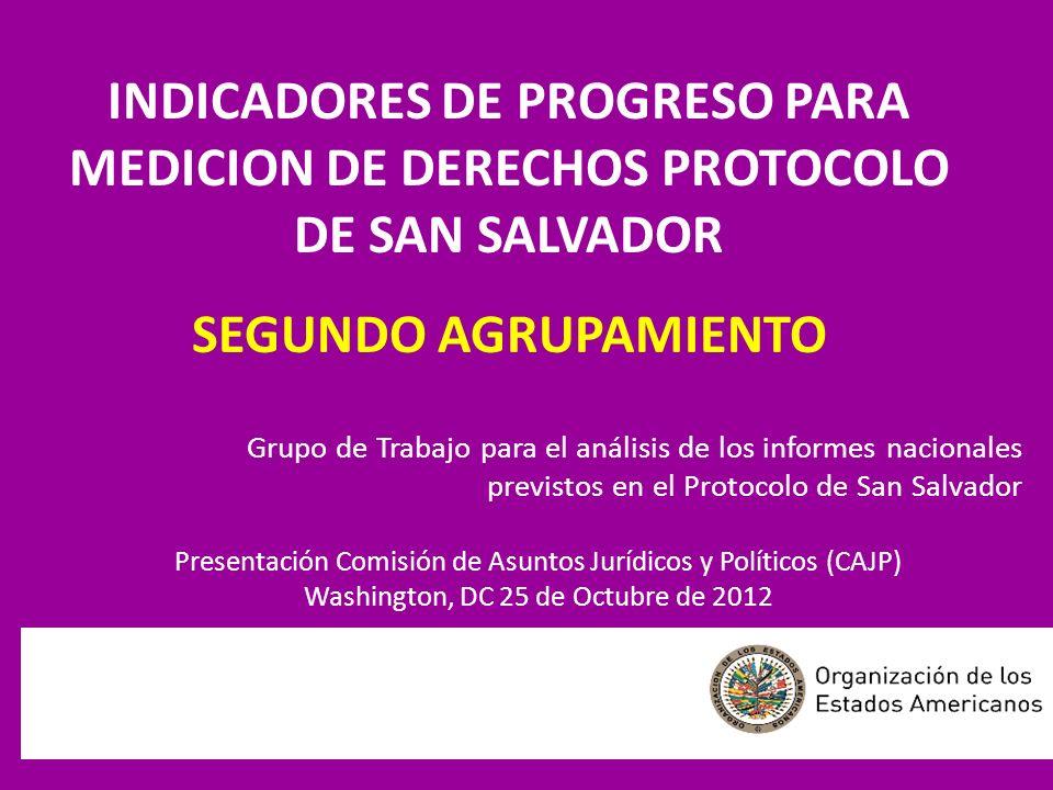 INDICADORES DE PROGRESO PARA MEDICION DE DERECHOS PROTOCOLO DE SAN SALVADOR