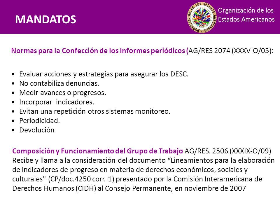 Mandatos MANDATOS. Normas para la Confección de los Informes periódicos (AG/RES 2074 (XXXV-O/05):