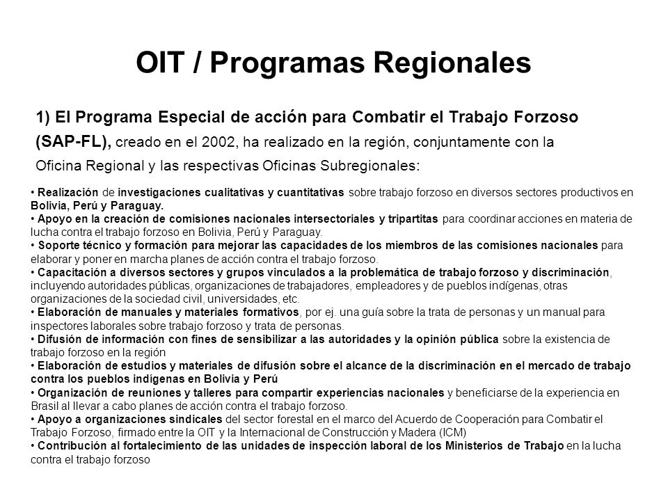 OIT / Programas Regionales
