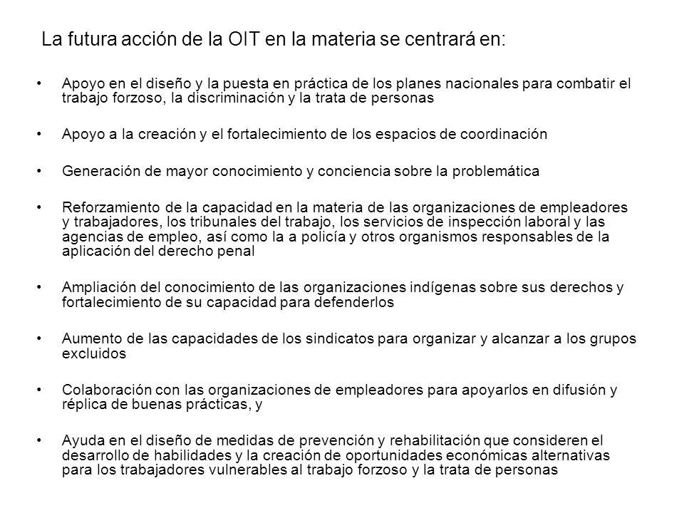 La futura acción de la OIT en la materia se centrará en: