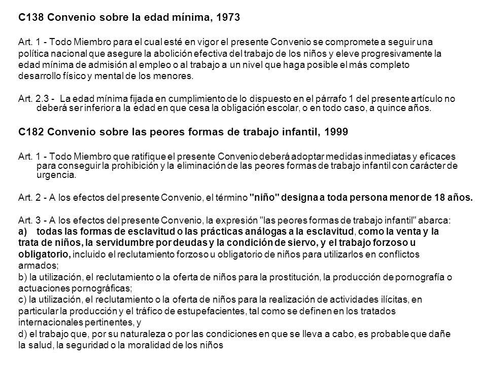 C138 Convenio sobre la edad mínima, 1973