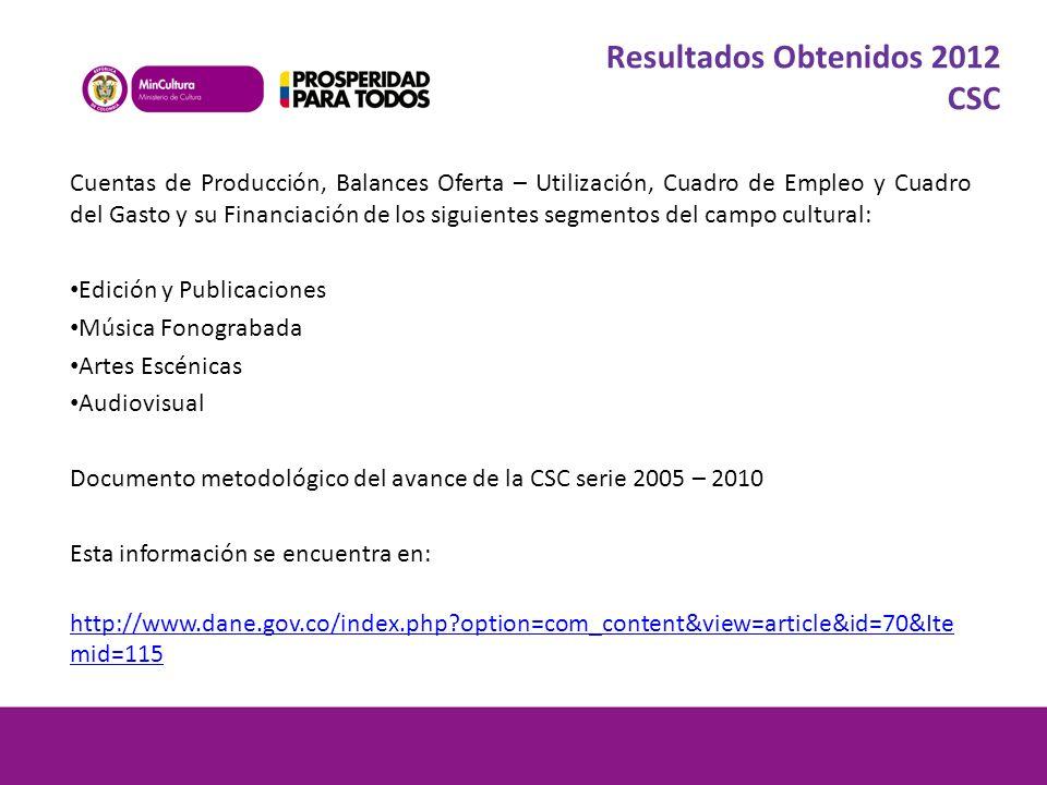 Resultados Obtenidos 2012 CSC