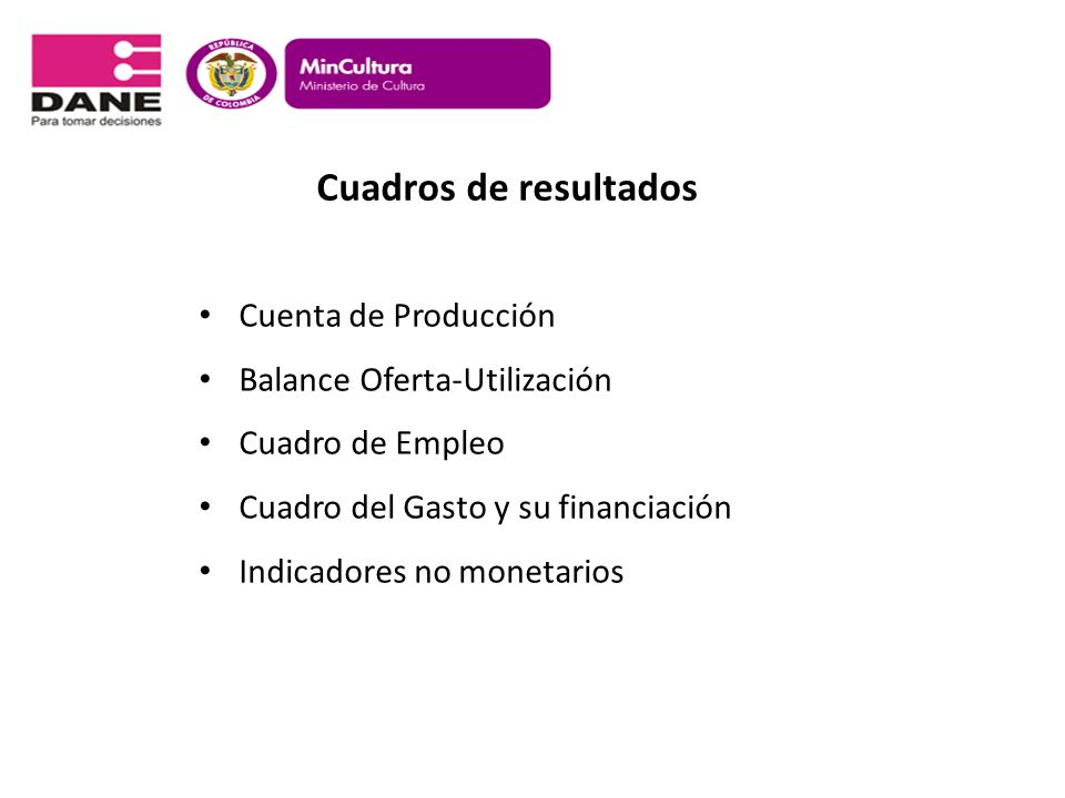 Cuadros de resultados Cuenta de Producción Balance Oferta-Utilización