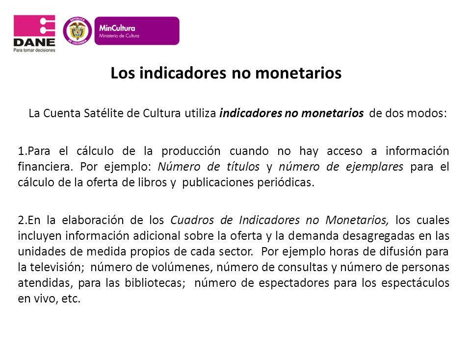 Los indicadores no monetarios