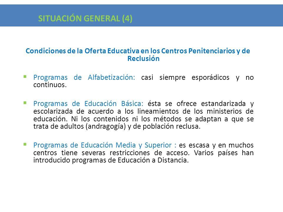 SITUACIÓN GENERAL (4) Condiciones de la Oferta Educativa en los Centros Penitenciarios y de Reclusión.