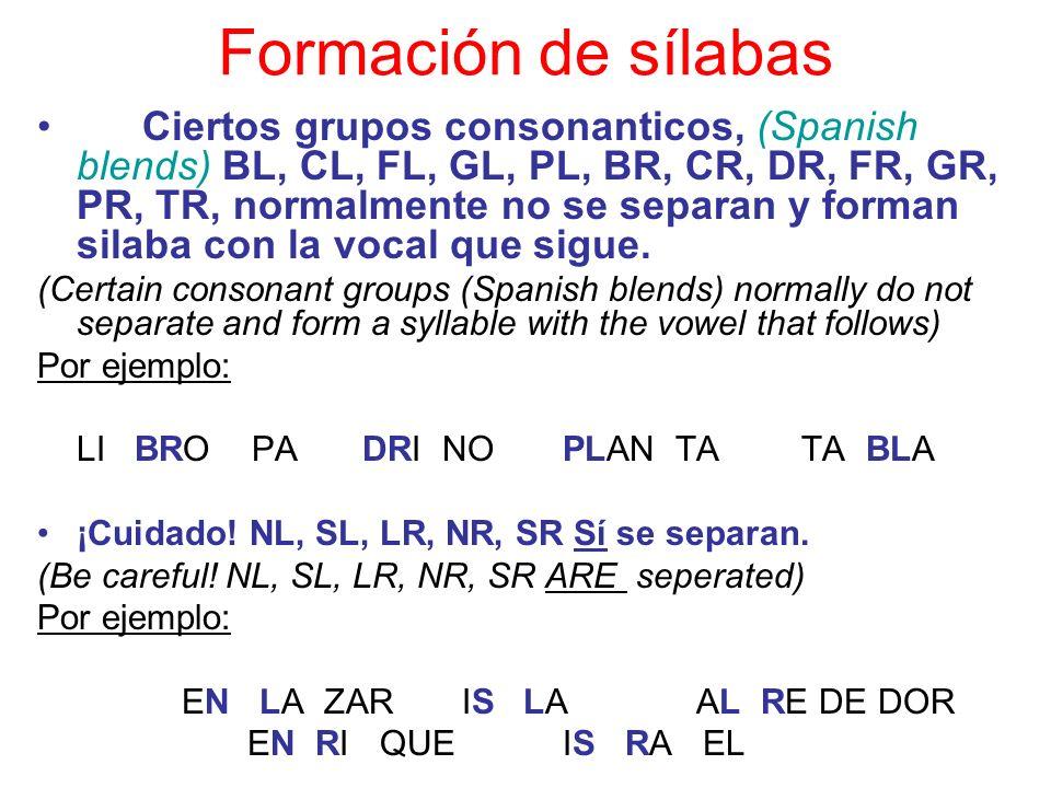 Formación de sílabas