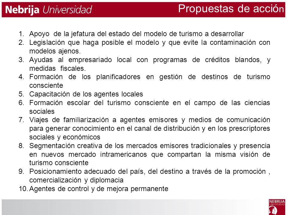 Propuestas de acción Apoyo de la jefatura del estado del modelo de turismo a desarrollar.