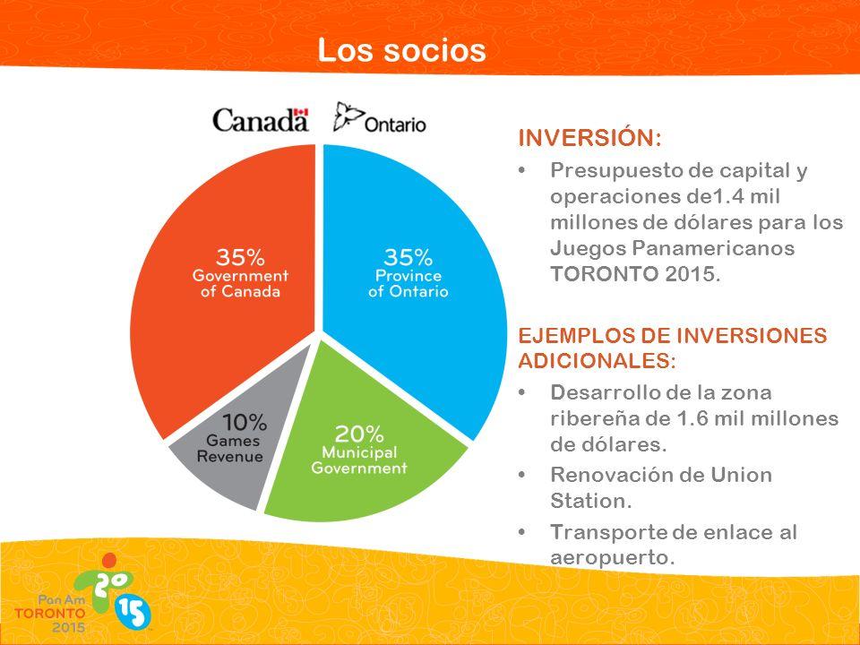 Los socios INVERSIÓN: Presupuesto de capital y operaciones de1.4 mil millones de dólares para los Juegos Panamericanos TORONTO 2015.