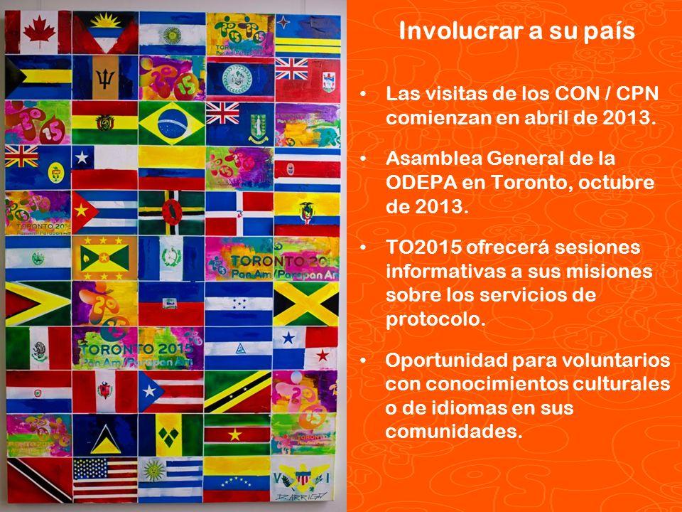 Involucrar a su país Las visitas de los CON / CPN comienzan en abril de 2013. Asamblea General de la ODEPA en Toronto, octubre de 2013.