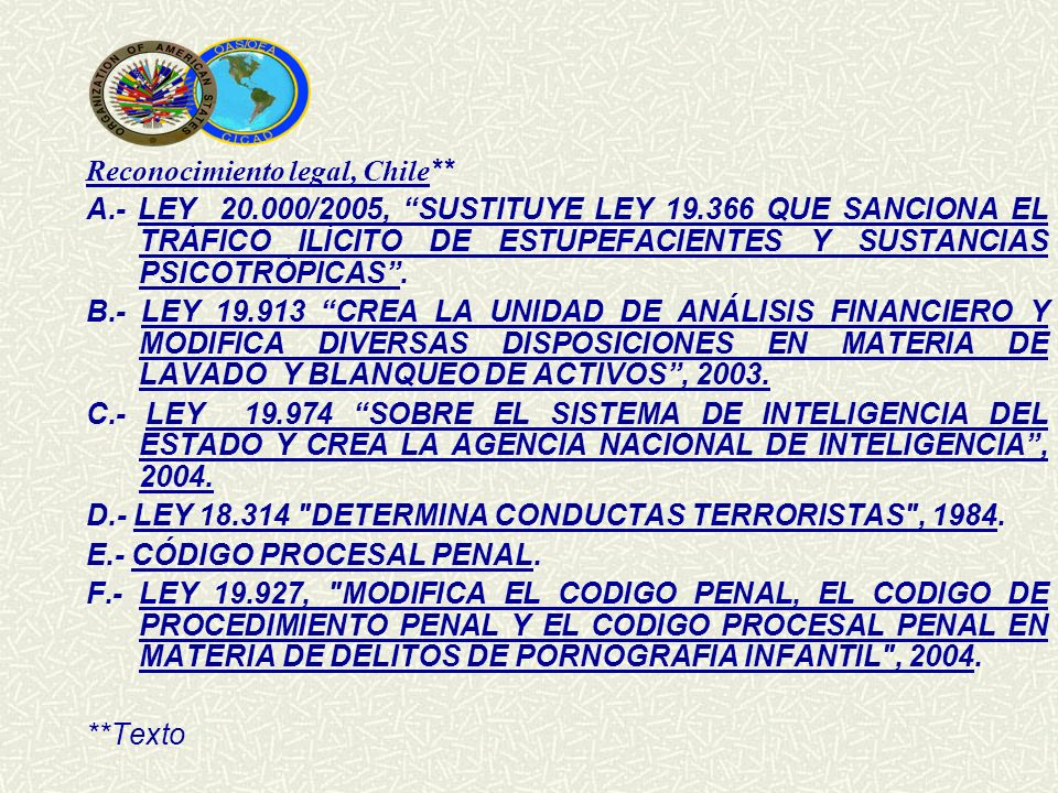 Reconocimiento legal, Chile**