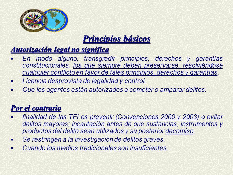 Principios básicos Autorización legal no significa Por el contrario